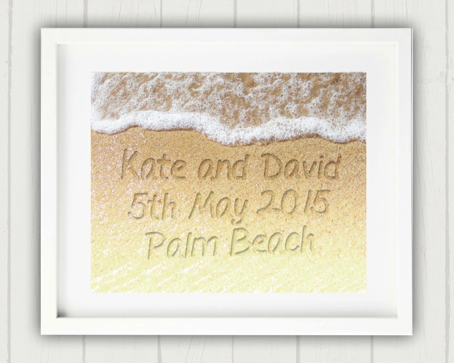 Items Similar To Wedding Gift, Name In The Sand Print