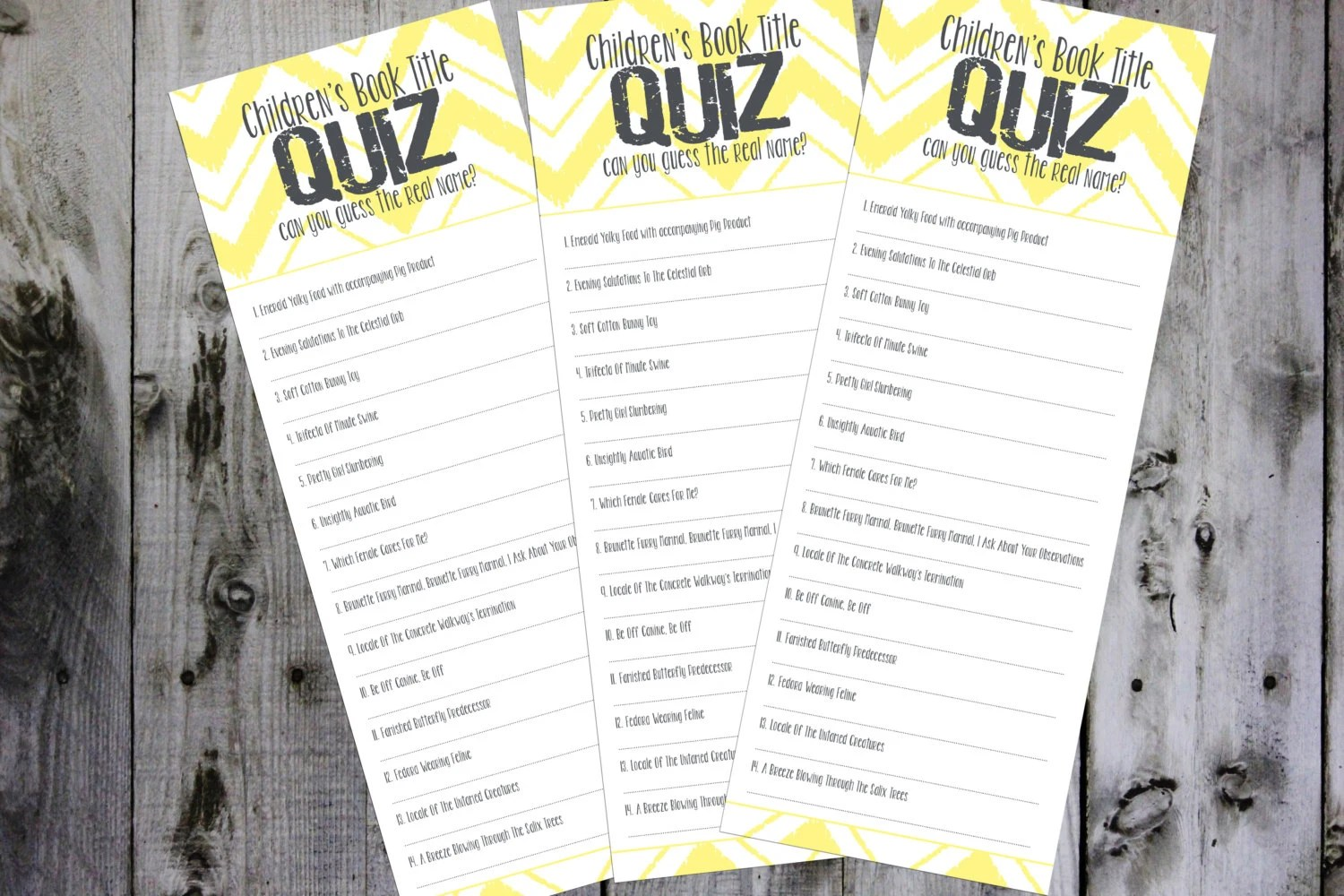Children S Book Title Quiz Baby Shower Game By Graypaperie