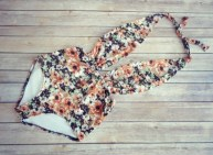 Beautiful Swimsuit - Vintage Retro Style High Waisted Pin-up Swimming Costume Swimwear - Vintage Peachy Floral Print Bathing Suit