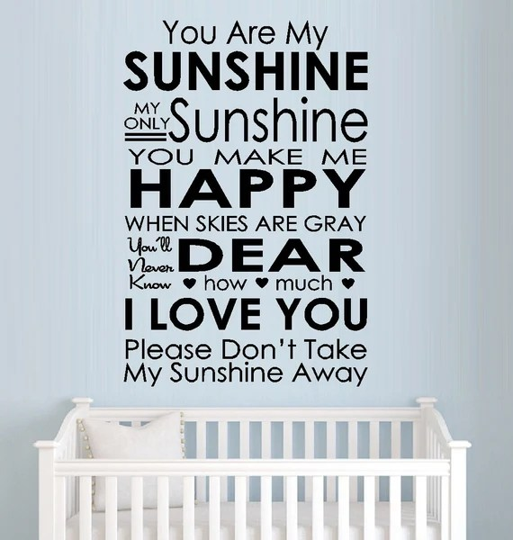 You are My Sunshine Wall Decal by MakeYourWallsPop