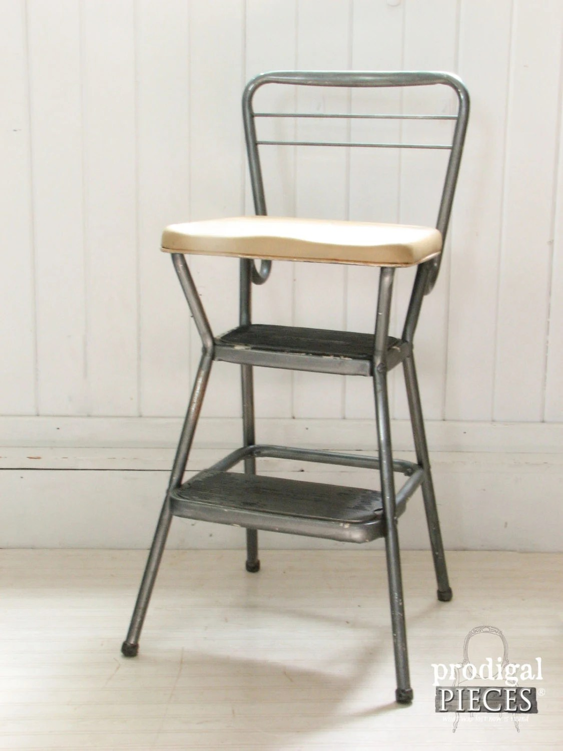 1950 S Vintage Cosco Step Stool With Folding Seat Retro Kitchen Goodness Utilitarian