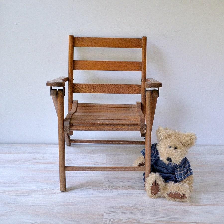 Vintage child's chair oak slat folding child's chair Paris Manufacturing Co