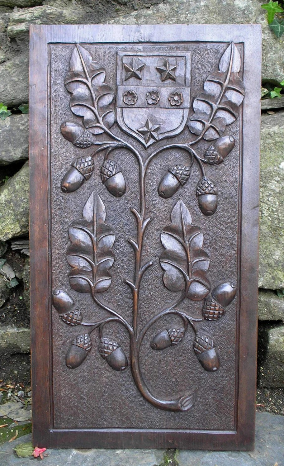 Vintage Wood Paneling: Large Arts & Crafts Carved Wood Panel With Heraldic Shield