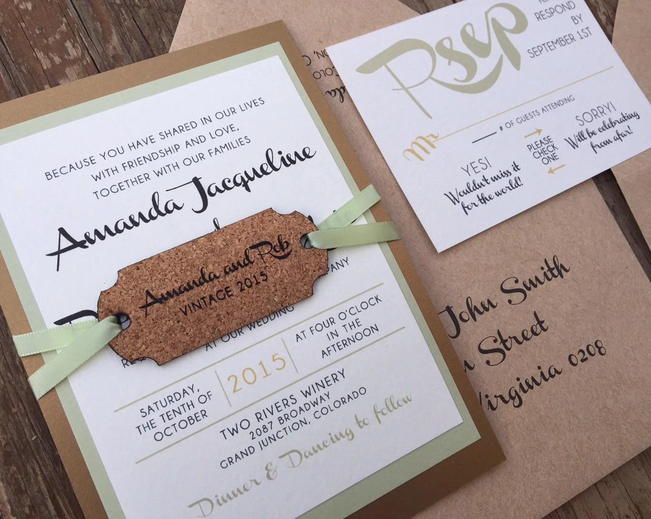 Winery Wedding Invitation With Wine Cork Tag SAMPLE