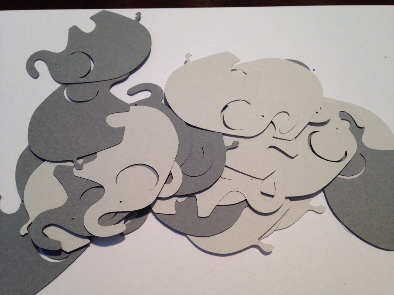 50 Large Gray Dark Gray Elephant Cutout Punch Cut