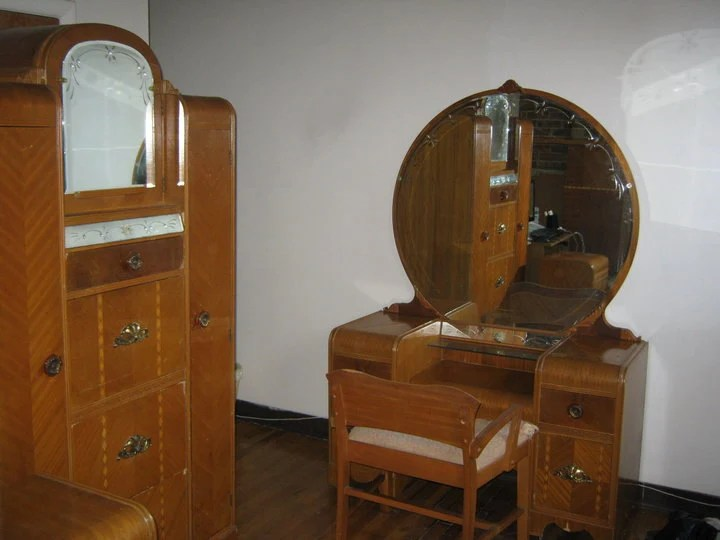 Vintage 1930s Bedroom Furniture Set Vanity Dresser Wardrobe Pickup Only