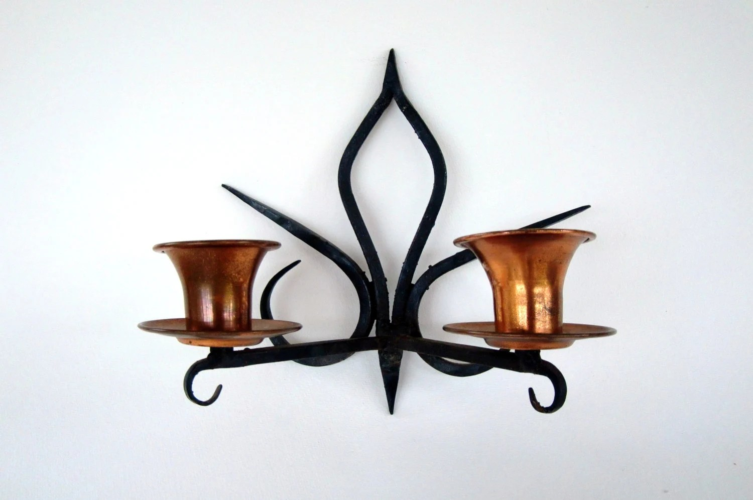 Vintage Hanging Wrought Iron and Copper Candle Holder Iron on Antique Wrought Iron Wall Candle Holders id=29811