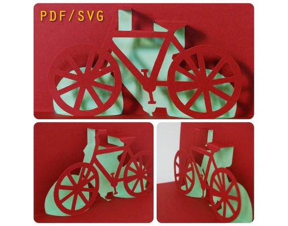 Vorlagen PDF Amp SVG Einfach DIY Fr Fahrrad 3D Pop Up Karte