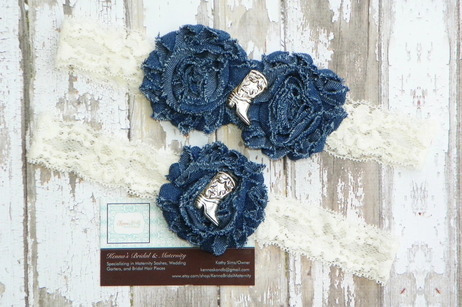 Denim Wedding Garters Country Wedding Garters Cowgirl Boots