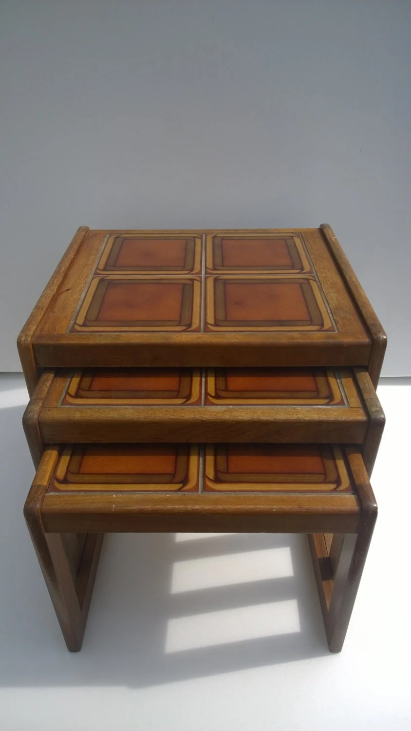 Vintage retro 70s nest of three tile top tables side for Coffee tables 70s