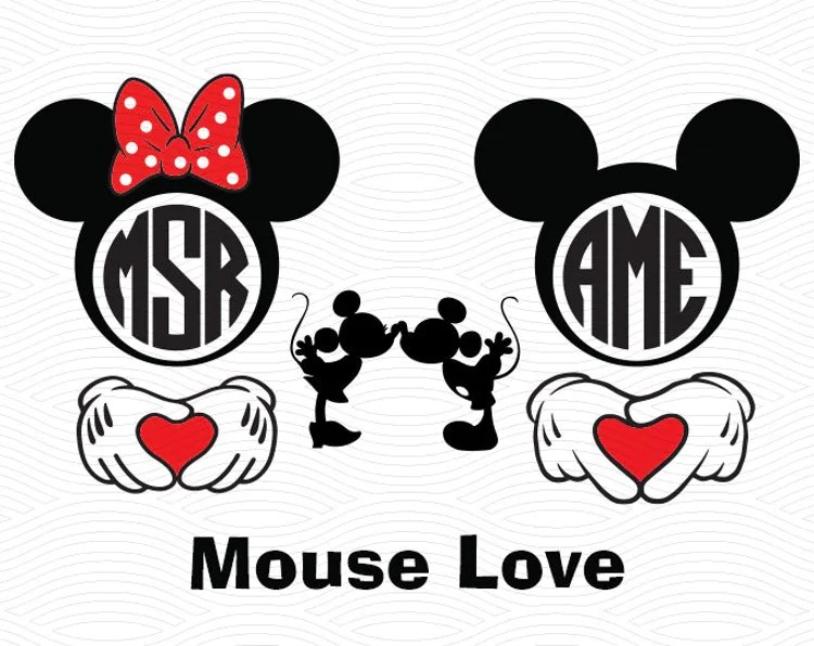 Download Mouse Love Monogram Set SVG EPS DXF Studio3 Minnie and by ...