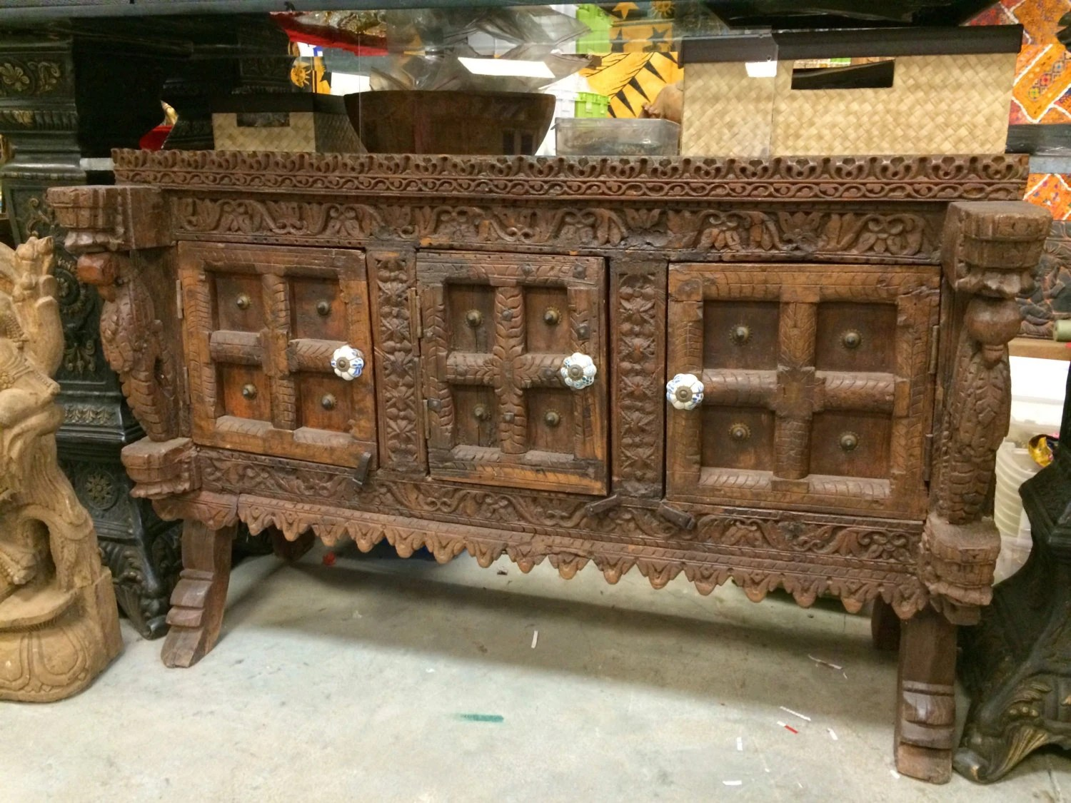 Antique Indian Sideboard Chest Dresser Vintage Teak Wood Rustic Buffets Manjoosh India Furniture
