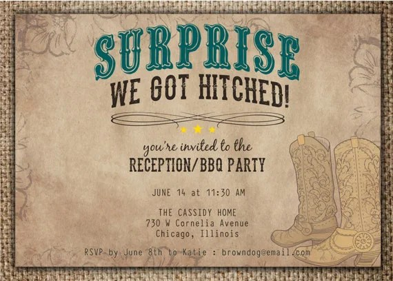 We Got Hitched Reception Invitations