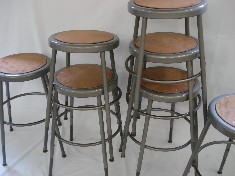 vintage krueger kitchen stool industrial school shop metal retro loft