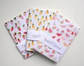 Notebook, journal, diary, watermelon, pineapple, strawberry, A6, handmade, stationery, carnet, pasteque, ananas, papeterie, journal intime