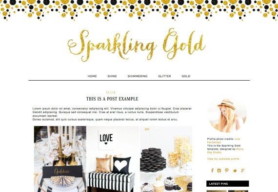 Blogger Blog design. Blogger template. Sparkling Gold. Responsive blog design. Premade theme. Modern, shimmering, glitter, black, polka dots