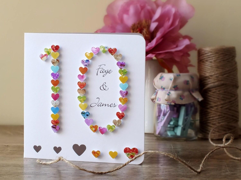 Handmade 3D 10th Wedding Anniversary Card By CardsbyGaynor