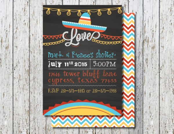 Mexican themed shower invite Couples Latin shower Fiesta