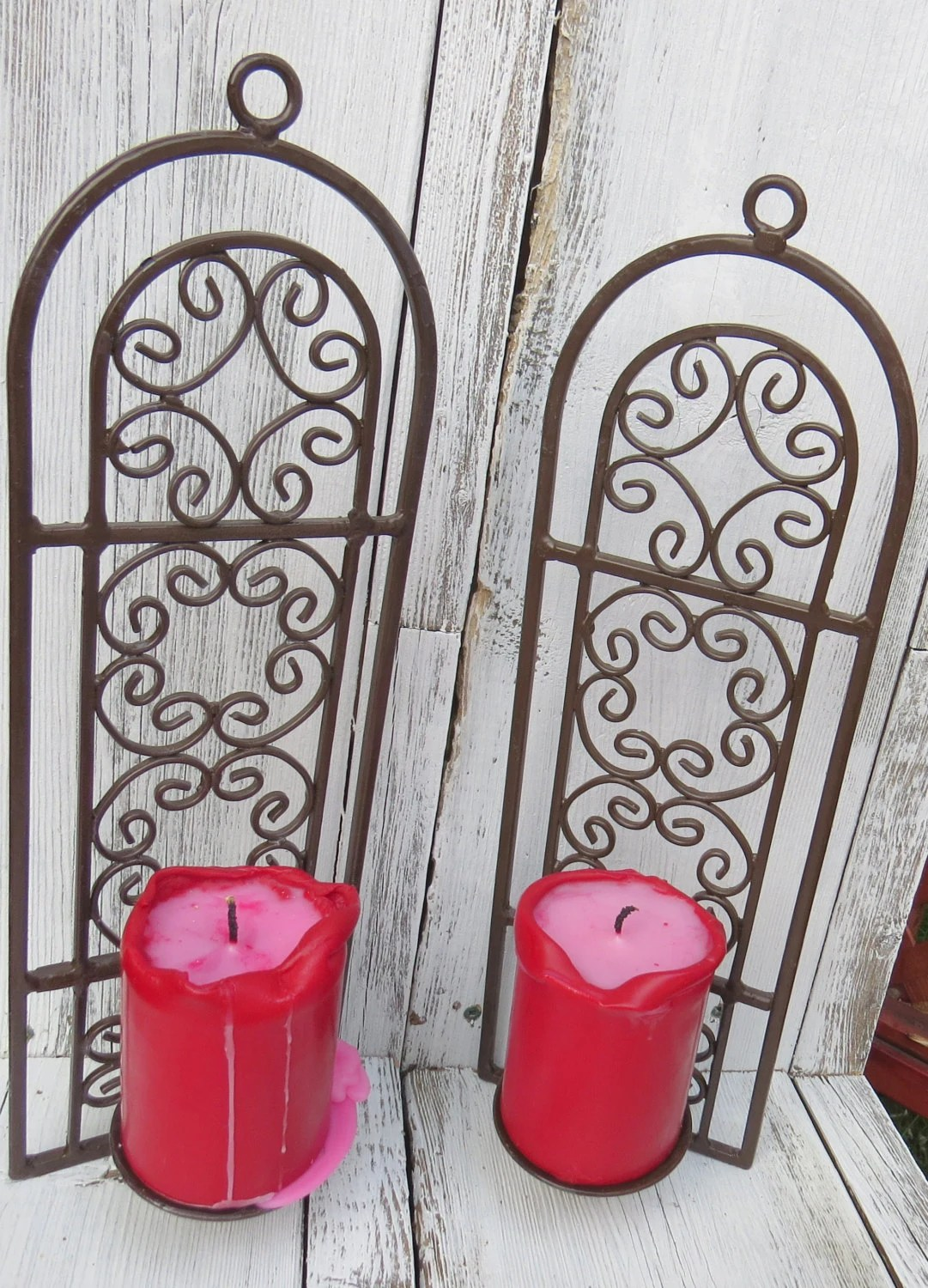 Cast iron vintage candle holders wall mounted by ChippedPaints on Antique Wrought Iron Wall Candle Holders id=44796