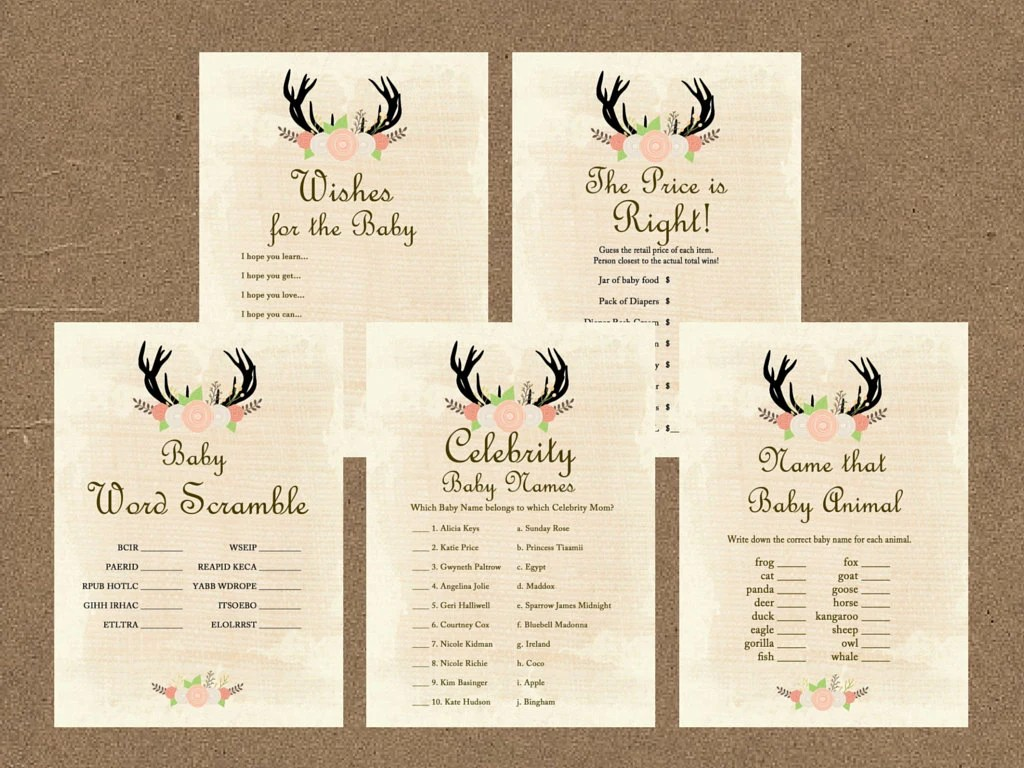 Rustic Baby Shower Games Printable Package Baby Shower Games