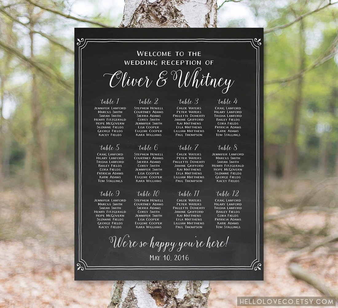 Printable Wedding Seating Chart Wedding Reception By