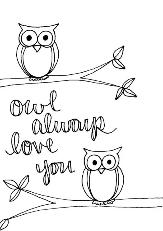 items similar to owl always love you coloring page on etsy