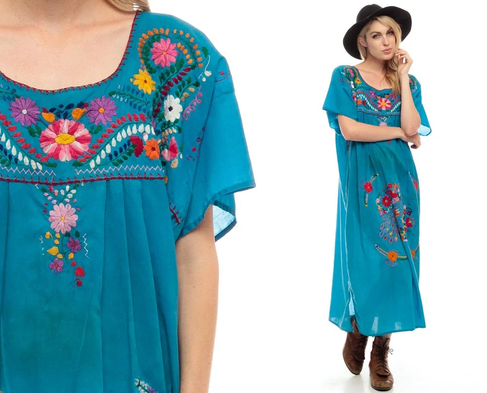 Traditional Mexican Dress Embroidered PEACOCK Bird Midi Tunic