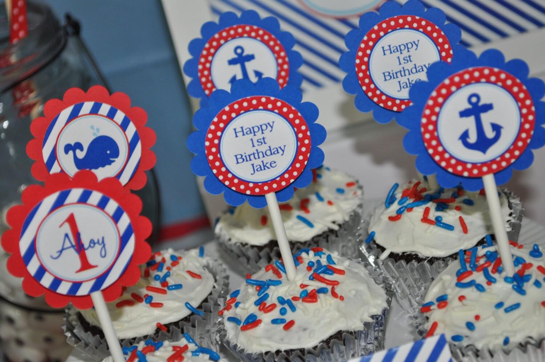 Nautical 1st Birthday Cupcake Toppers Boys 1st Birthday