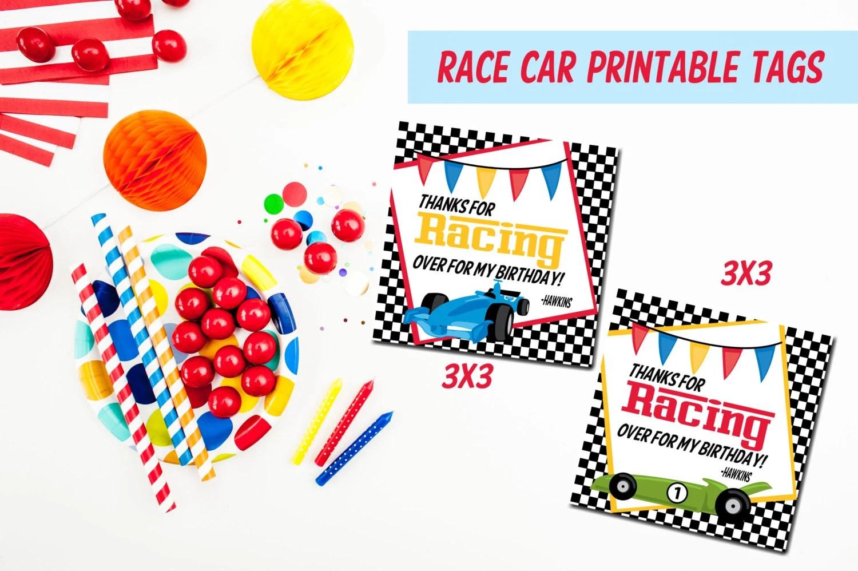 Printable Race Car Favor Tags Race Car Birthday Tags Print