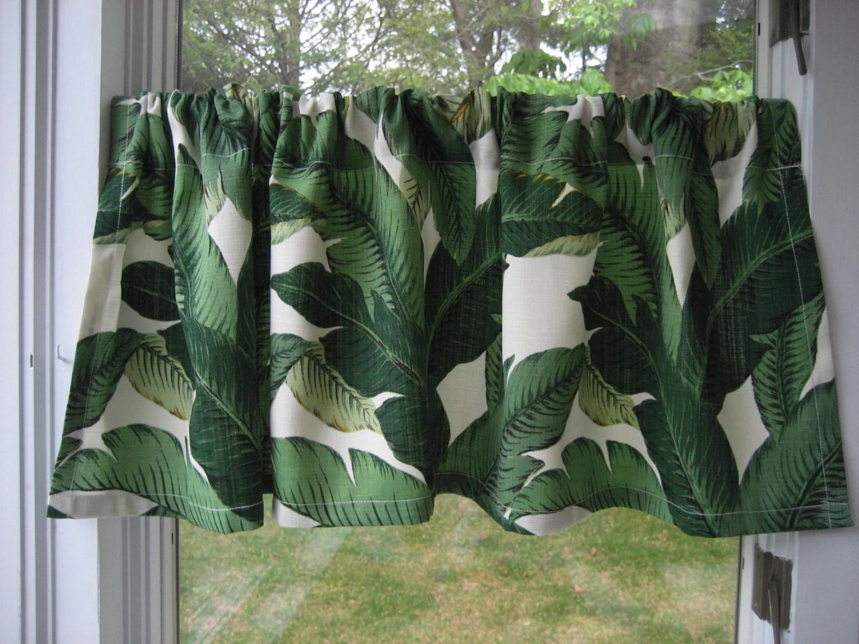 Modern Green Banana Leaf Window Valance 16x52