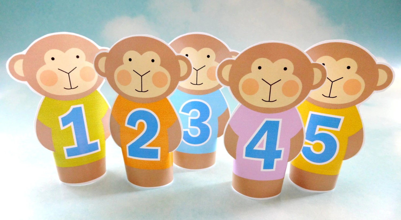 Diy Printable Finger Puppets Five Little Monkeys Jumping On