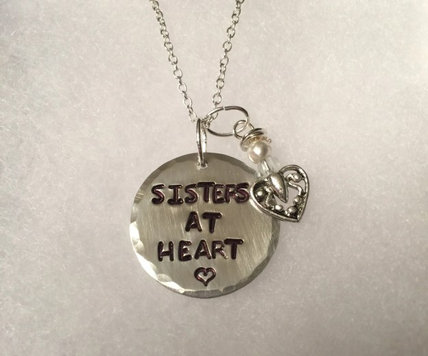 Hand Stamped Necklace Sisters At Heart