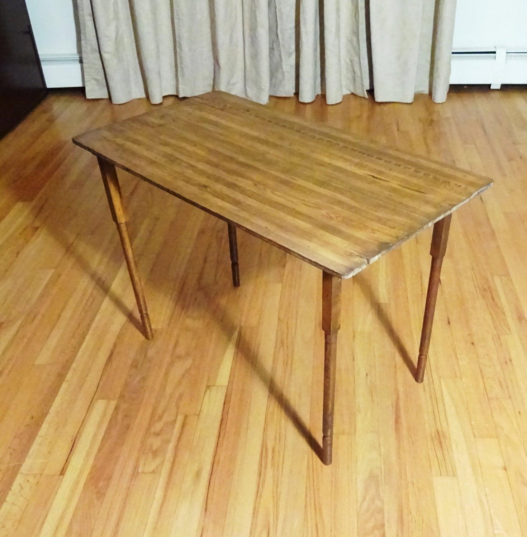 C1890 Antique Oak Folding Sewing Table W Built In Tape Measure Tailor Ruler Haute Juice