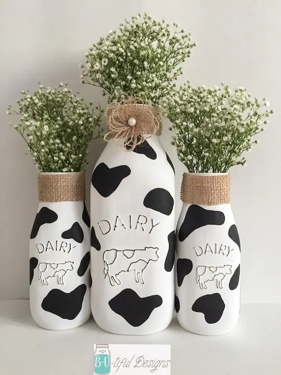 Cow Milk Bottles Kitchen Decor Farm Theme Party Butifuldesigns