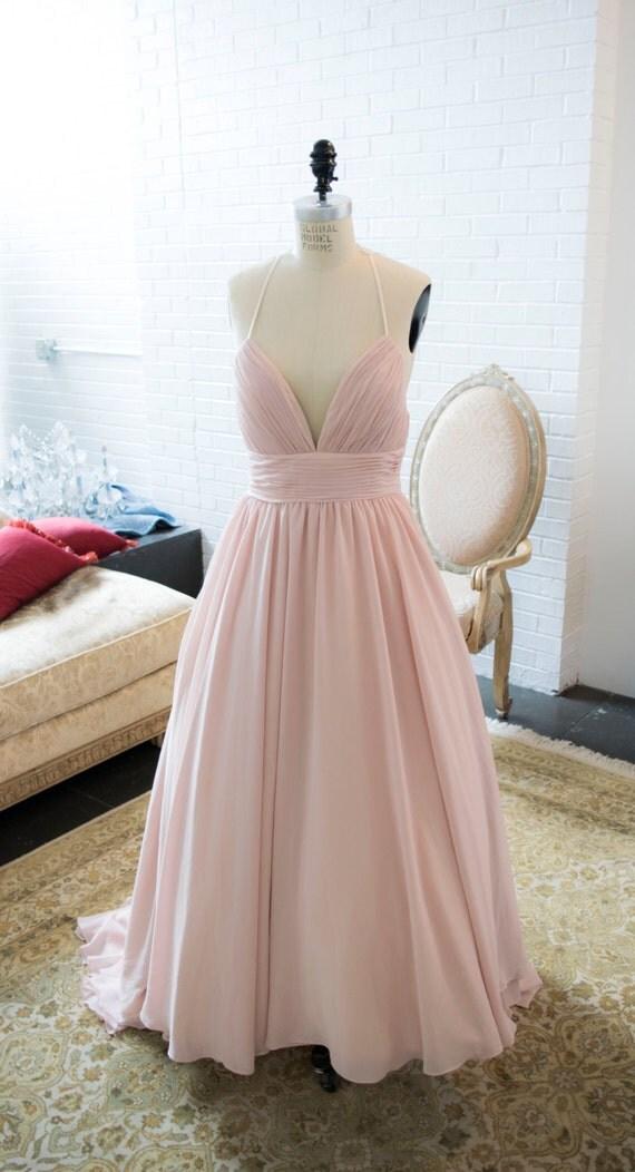 Blush Chiffon Flowy Simple Wedding Dress With By