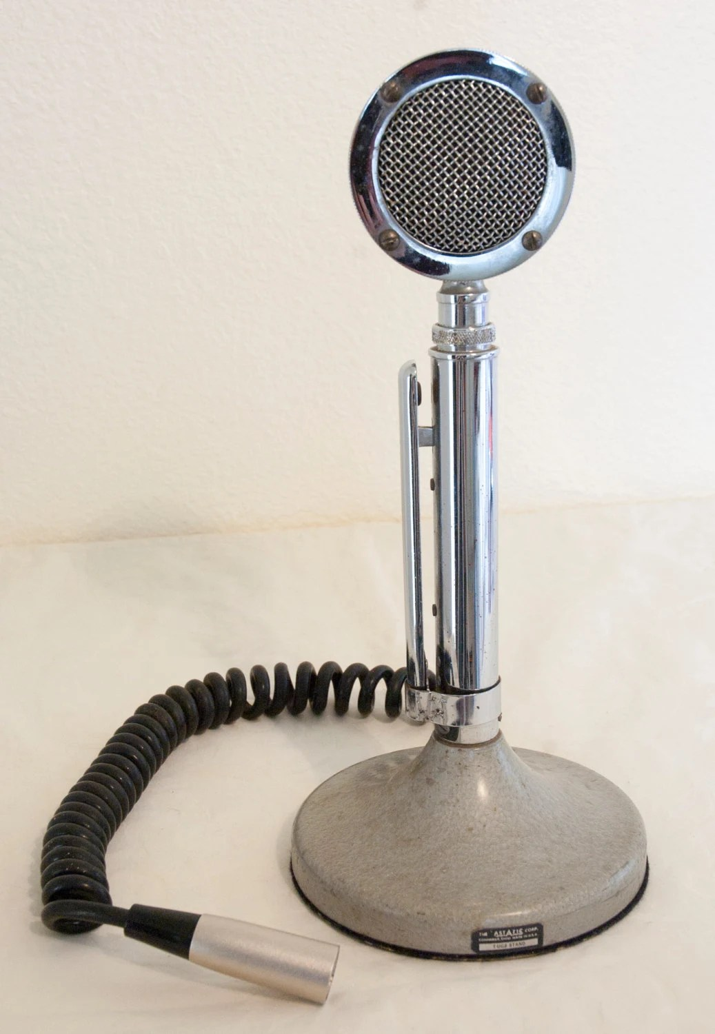 Vintage Chrome Astatic Microphone D104 Cb Tup9 Stand Lollipop