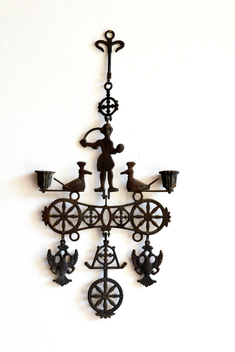 Vintage Wrought Iron Candle Holder / Iron Wall Sconce / Rustic on Metal Candle Holders For Wall id=71926