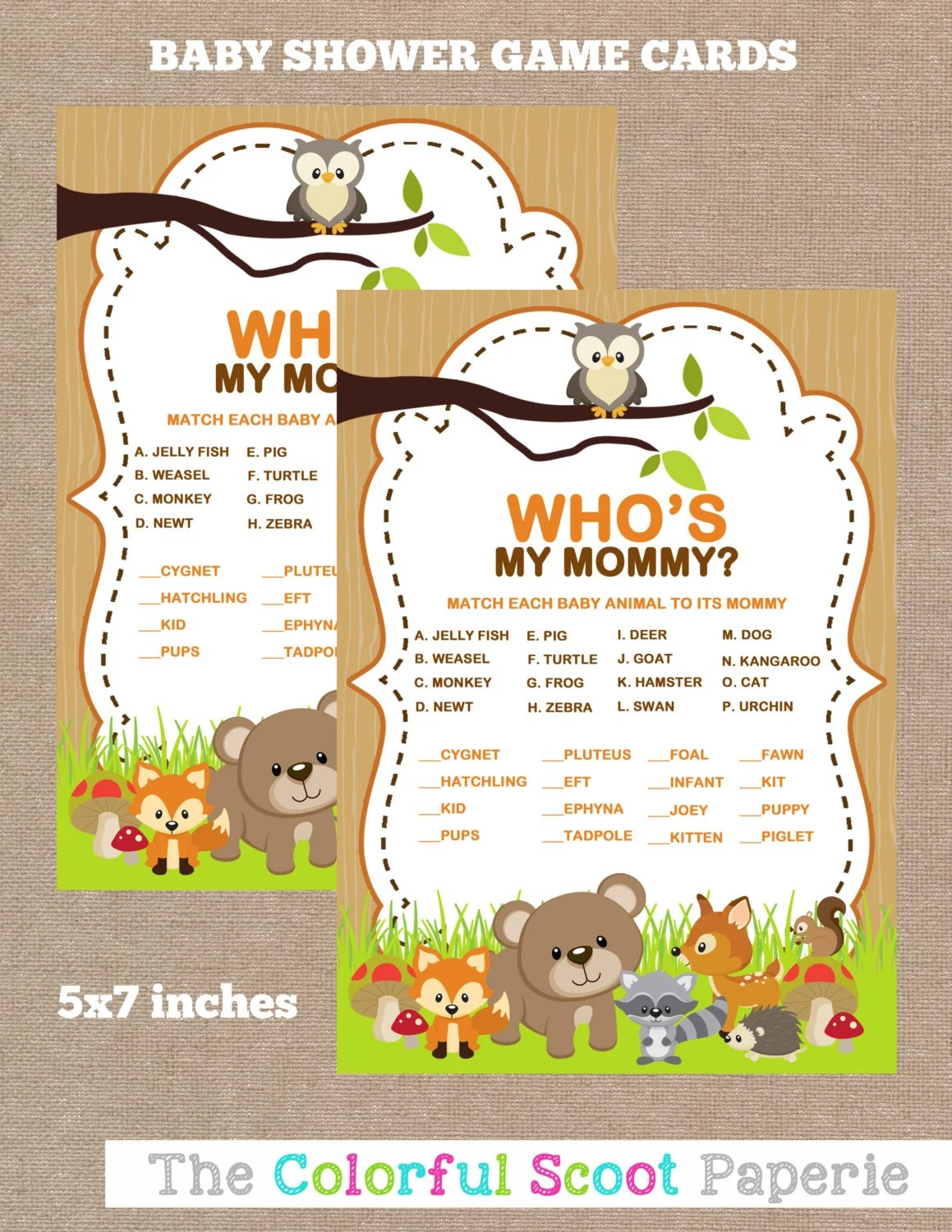 Instant Download Woodland Baby Shower Baby Animal Name Game