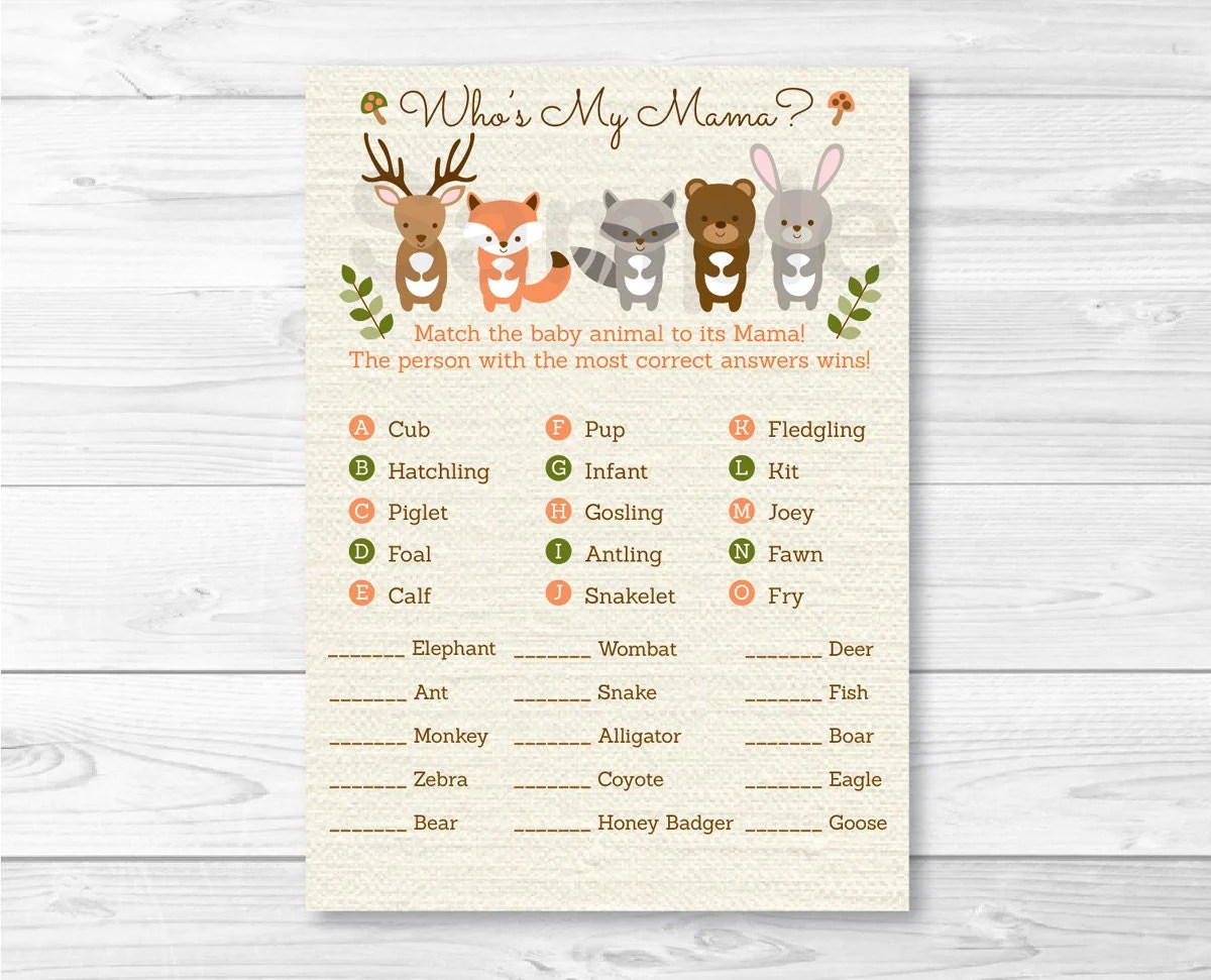 Woodland Forest Animal Match Baby Shower Game Baby Animal