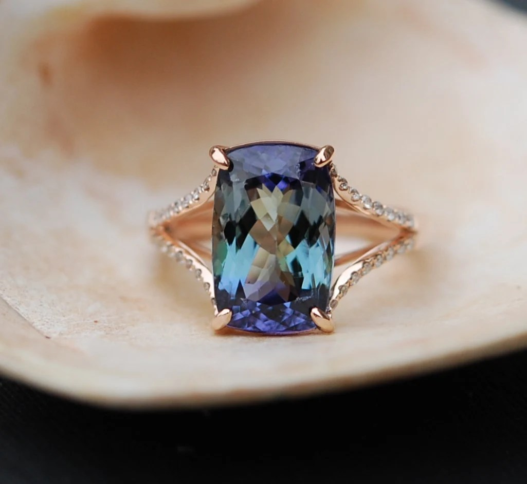 Tanzanite Ring Rose Gold Engagement Ring Lavender Mint
