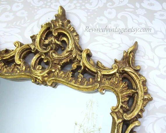 HOLLYWOOD REGENCY FURNITURE Large Gold Mirror By