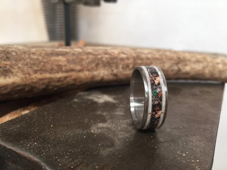 Mens Wedding Band Elk Antler Amp Camo Ring Staghead Designs