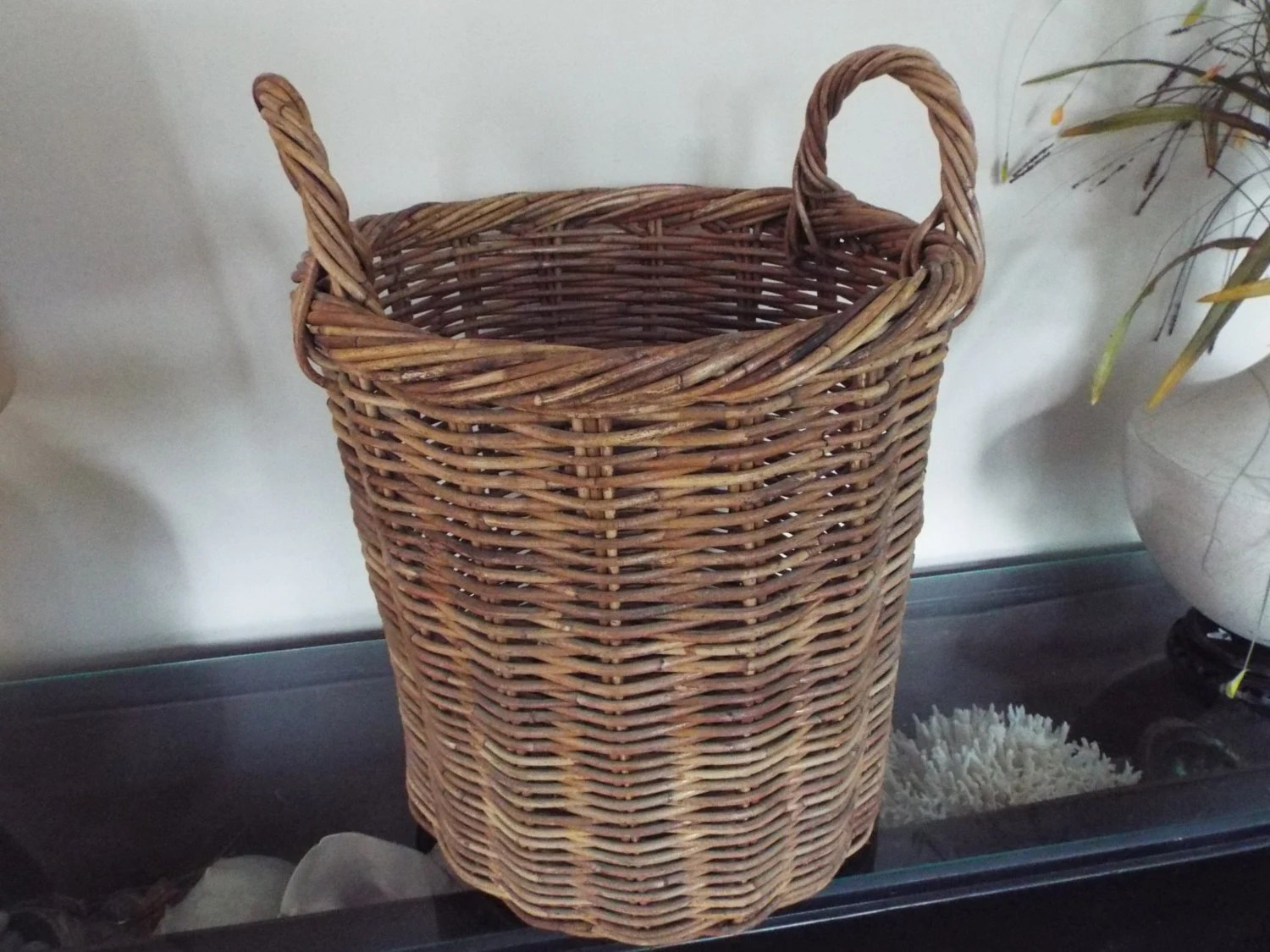 Large Round Wicker Baskets With Handle : Large tall round woven wicker baquette basket handles