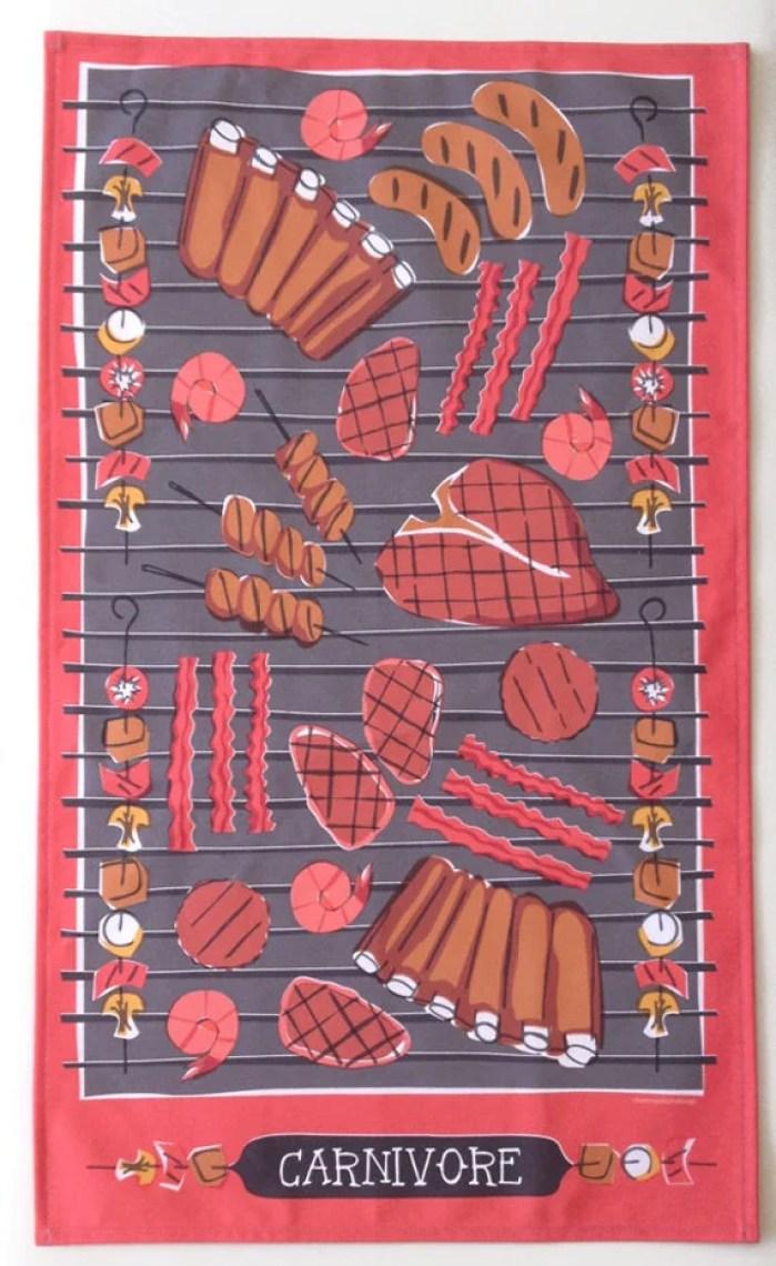 Carnivore Tea Towel-Home Goods-Kitchen-Red-Grey-Black-17 x 28