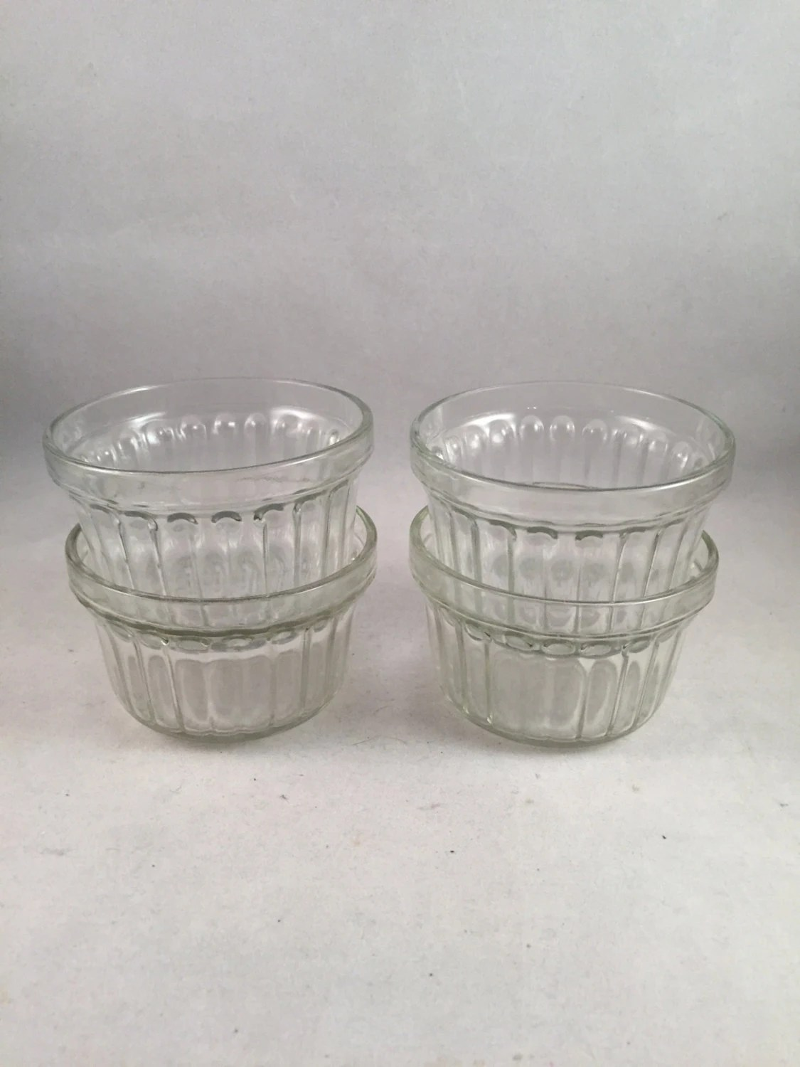 Vintage Clear Glass 6 Ounce Custard Bowls Set Of 4