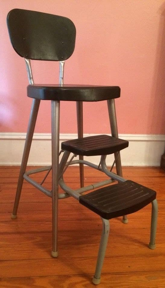 Vintage All Metal Step Stool Kitchen High Chair Fold Pull