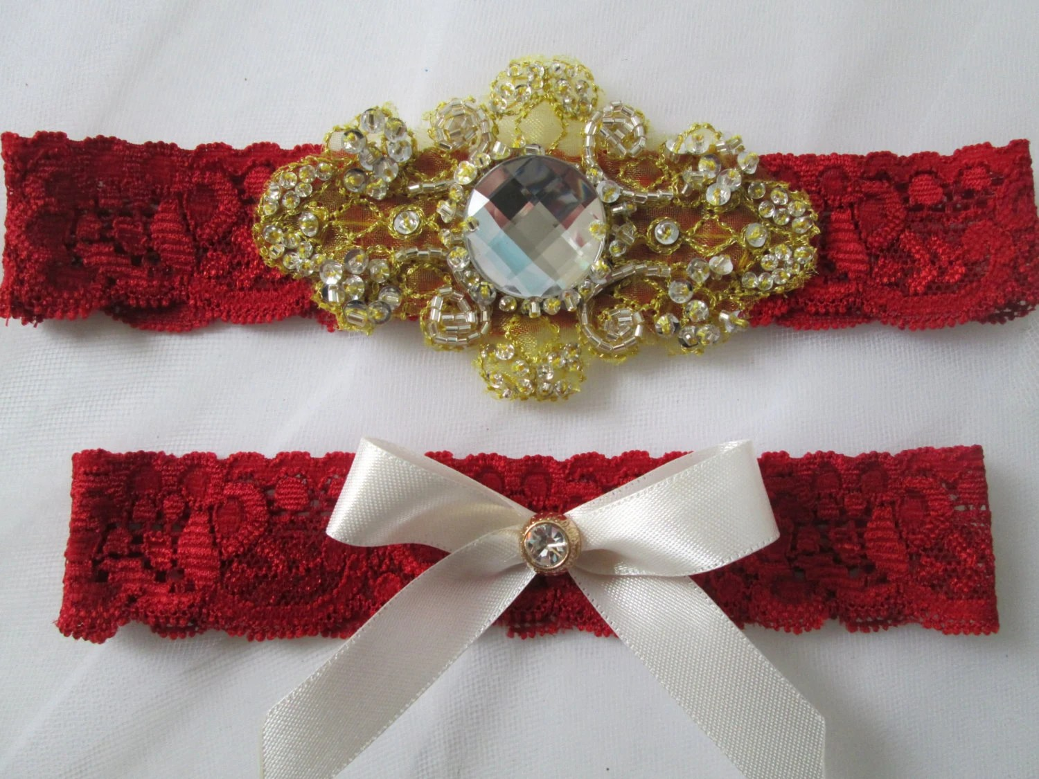 Red Lace Wedding Garter Set Red & Gold Bridal By