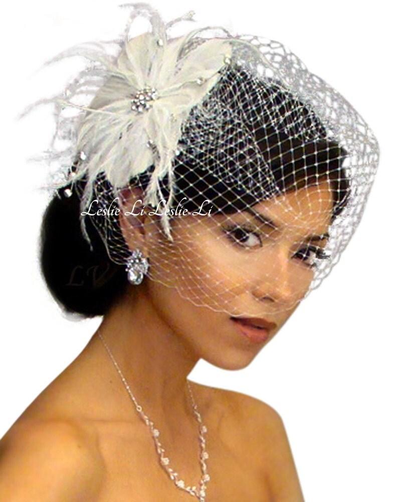 Leslie Li Cecila Style Feather Hair Clip With Bridal Birdcage