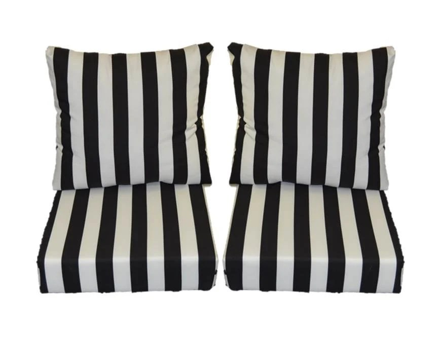 black and white stripe cushions for patio outdoor seating on Black And White Striped Outdoor Seat Cushions id=71802