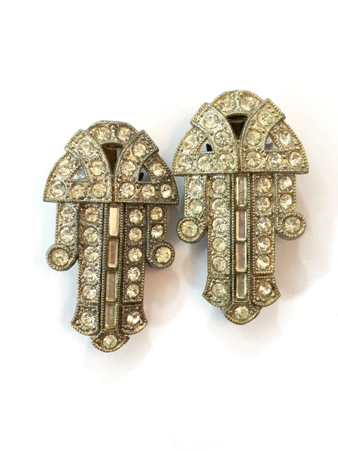 Art Deco Clips Vintage Rhinestone Dress Shoe Clips Diamant